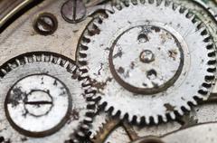 Macro photo close-up view of metal clockwork Stock Photos