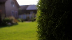 A Private Brown House With a Garden in Rural Area Stock Footage