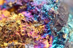 Bornite, also known as peacock ore, is a sulfide mineral - stock photo