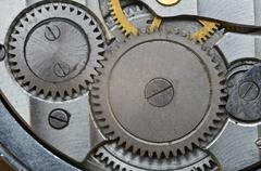 Metal Cogwheels in Old Clockwork, Macro. Stock Photos