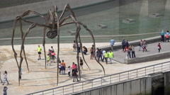 The spider Maman sculpture by the Guggenheim Bilbao Stock Footage