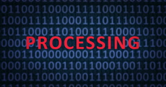 PROCESSING word with binary numbers Stock Footage