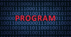 PROGRAM word with binary numbers Stock Footage