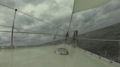 View Of Yacht's Front Sailing In Powerful Wind - stock footage