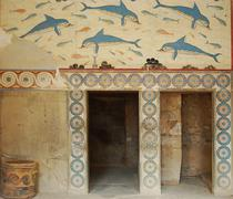 Antique ruins in Greece. Wall with animal and floral ornaments - stock photo