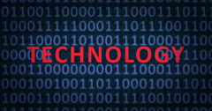 TECHNOLOGY word with binary numbers Stock Footage
