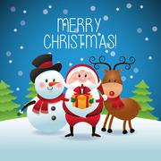 Merry Christmas concept with snowman, deer and santa  icon. vect Stock Illustration