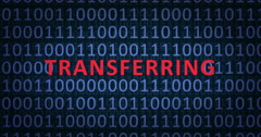 TRANSFERRING word with binary numbers Stock Footage