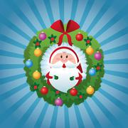 Merry Christmas concept with santa inside pine crown. vector gra - stock illustration