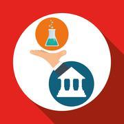 Education design. University icon. Colorfull and isolated illustration - stock illustration