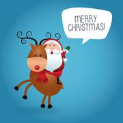 Merry Christmas concept with santa and deer  icon. vector graphi - stock illustration