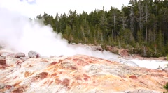 Beautiful Yellowstone Lake geyser boardwalk tourism 4K Stock Footage