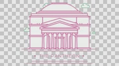 Pantheon in Rome, Italy. Part of the set. Animated outlined landmark 4K footage Stock Footage