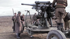 Second World War Soviet Infantry Dismantling USSR Howitzer-Gun - stock footage
