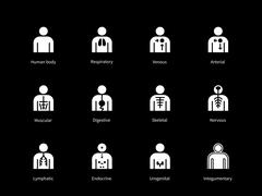 Systems of human body, digestive, arterial, venous icons on black background Stock Illustration