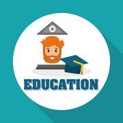 Education design. University icon. Colorfull and isolated illust Stock Illustration