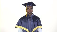 Graduate waving hello. White. Slow motion. Close up Stock Footage