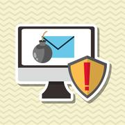 Cyber Security antivirus design - stock illustration