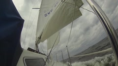 Right Side Of Yacht Sailing In Storm HD Stock Footage