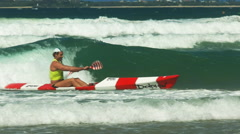 Close up of the winner of a men's surf ski race Stock Footage