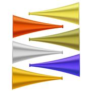 Set of Colorful Horns Isolated Stock Illustration