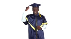Graduate is happy and dancing. White. Slow motion Stock Footage