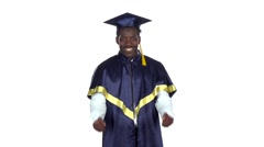 Graduate smiling and dancing. White. Slow motion Stock Footage