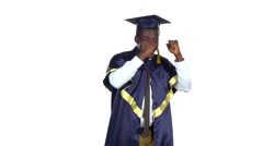 Student dancing. White. Slow motion Stock Footage