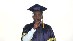 Graduate makes hand gestures. White. Slow motion. Close up Stock Footage
