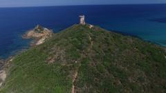 Genoese tower, Corsica Stock Footage