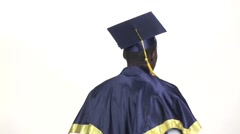 Student shows a finger softly. White. Slow motion. Close up Stock Footage