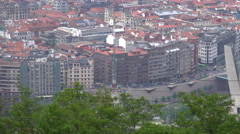 Telephoto pan over to Bilbao Guggenheim Stock Footage