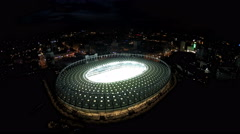 Amazing aerial view of sports arena ready for championship, night cityscape Stock Footage