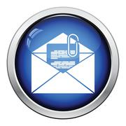 Mail with attachment icon Stock Illustration
