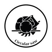 Icon of circular saw - stock illustration