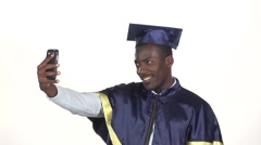 Student makes selfie photo. White. Slow motion. Close up Stock Footage