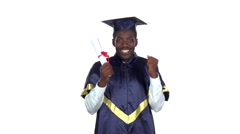 Student holding a diploma. Slow motion. White Stock Footage