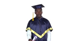 Student with graduation gown and diplom. Slow motion. White Stock Footage