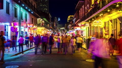 Bourbon Street at Night in The French Quarter of New Orleans - Time Lapse Stock Footage