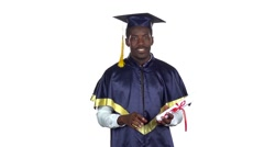 Student with diploma is dancing. Slow motion. White Stock Footage