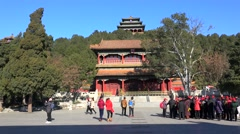 Beijing Jingshan Park from the South gate. China Stock Footage