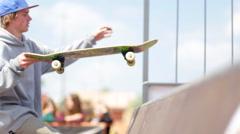 Blurred legs of skateboarder Stock Footage