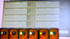 Amplitude modulation and readings on display of scientific apparatus Stock Footage