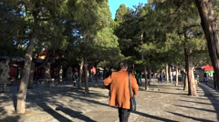 People on the Kunming lake promenade in Summer Palace. Beijing, China. Stock Footage