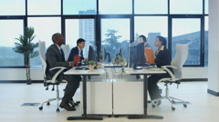 4K Time lapse of busy corporate business team working in city office Stock Footage
