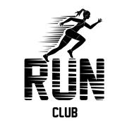 Woman of side running. sport concept, vector graphic Stock Illustration