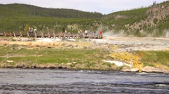 Beautiful Yellowstone Lake geyser boardwalk tourism 4K Stock Footage