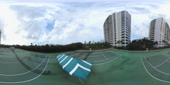 360 spherical video tennis court Stock Footage