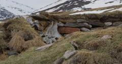 Ruin of thule encampment on baffin island tundra Stock Footage