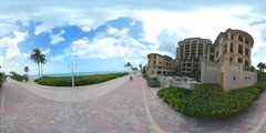 Scenic Hollywood Beach boardwalk 360 VR video Stock Footage
